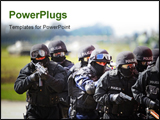PowerPoint Template - anti terrorist swat commando approaching the hijacker