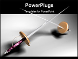 PowerPoint Template - swords duel. games battle conflict fighter. 3d