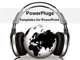 PowerPoint Template - headphone on a globe