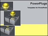 PowerPoint Template - golden ball on four squares