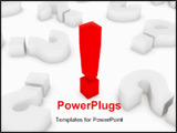 PowerPoint Template - Three dimensional Shape Computer Generated Image. exclamation mark