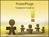 PowerPoint Template - Team meeting illustration of paper puppets against white background.