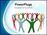 PowerPoint Template - Gradient blend of diverse group of symbol people of many colors hold their hands up in a ring.