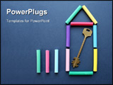 PowerPoint Template - From color slate pencils and a key the symbol of the new house is combined.