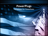 PowerPoint Template - American flag and the statue of liberty