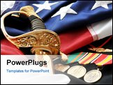 PowerPoint Template - Celebrating The American Soldier - White gloves sabre uniform with medals and flag