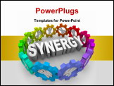 PowerPoint Template - The word Synergy surrounded by people in gears