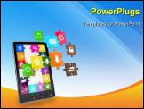 PowerPoint Template - Tablet pc software. Screen from puzzle with icons. 3d