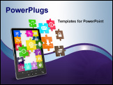 PowerPoint Template - Tablet pc software. Screen from puzzle with icons