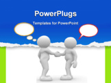 PowerPoint Template - Two people shaking hands and talking -3d render illustration