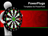 PowerPoint Template - Man hold darts on white background