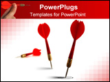 PowerPoint Template -  red darts isolated on a white background the first one reach the target the second dart fail the o