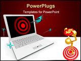 PowerPoint Template - An arrow hits a bullseye on a white computer laptop