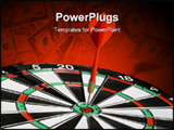 PowerPoint Template - Still-life of a dartboard with a dart right on target.