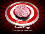 PowerPoint Template - d illustration of a large human brain sitting on top of a metallic red and white target on a dark r