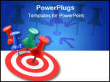 PowerPoint Template - target concept - red thumbtack placed in the center