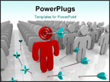 PowerPoint Template - Targeting a single customer in a larger group and getting a direct hit with an arrow.