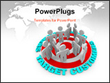 PowerPoint Template - Several customers stand on a red target surrounded by words Target Customers.