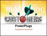 PowerPoint Template - The word Customers with a target in place of the letter O and an arrow making a direct hit