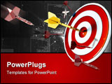 PowerPoint Template - Numerous red darts missing the target and one gold one hitting bullseye.