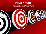 PowerPoint Template - Darts hitting the bullseye of a right target