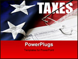 PowerPoint Template - Portrayal of tax time with government 1040 tax form reading glasses flag and the word taxes