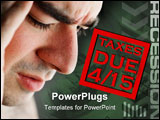 PowerPoint Template - A man has intense stress over how he is going to pay his taxes during a time of economic downturn
