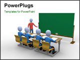 PowerPoint Template - 3d person teaching a class. Blackboard is empty for you to add whatever you like.
