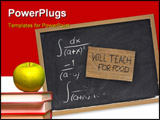 PowerPoint Template - will teach for food - cardboard sign on blackboard with partially erased mathematical formulas