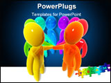 PowerPoint Template - Men of different colors standing in circle and shaking hands.