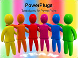 PowerPoint Template - igures of different colors holding each other. Concept of close team relationship cooperation betwe