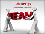 PowerPoint Template - Two man work together to carry the team word 3d illustration