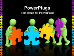 PowerPoint Template - Four puppets holding in hands a puzzle