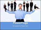 PowerPoint Template - Business man with arms open hands facing up with his team