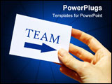 PowerPoint Template - An image of a visit card with the word: team