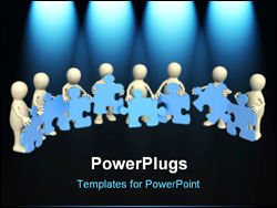 PowerPoint Template - 3d puppets holding in hands a puzzles