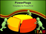 PowerPoint Template - Three 3d puppets making the round diagram.