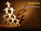 PowerPoint Template - Human team pyramid on brown background