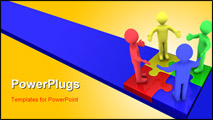 PowerPoint Template - Four 3d colored people on top of puzzle pieces make a puzzle