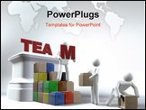 PowerPoint Template - A team of 3D figures building the word TEAM onto a pedestal whilst using building blocks to reach