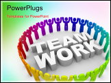PowerPoint Template - A team of people in a big circle.
