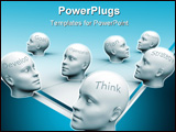 PowerPoint Template - Human heads with conceptual words - 3d render illustration