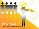 PowerPoint Template - onceptual design of a person with a bright lightbulb over his its head standing out apart from four