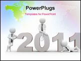 PowerPoint Template - Three men sitting on the years 2011, happy new year
