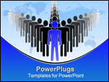 PowerPoint Template - Simple illustration of leader and his team.