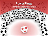 PowerPoint Template - Soccer balls around team leader on white background rendered with soft shadows.