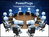 PowerPoint Template - 3d people sitting around a table using laptops .