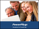 PowerPoint Template -  business team working on a laptop computer will be a great choice for presentations on team work,