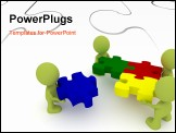 PowerPoint Template - Illustration of a team putting together puzzle pieces.