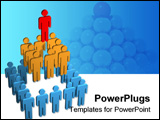 PowerPoint Template - 3d team pyramid with 25 members